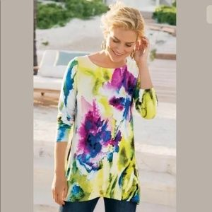 Soft Surroundings Floral Watercolor Tunic Top Sz S